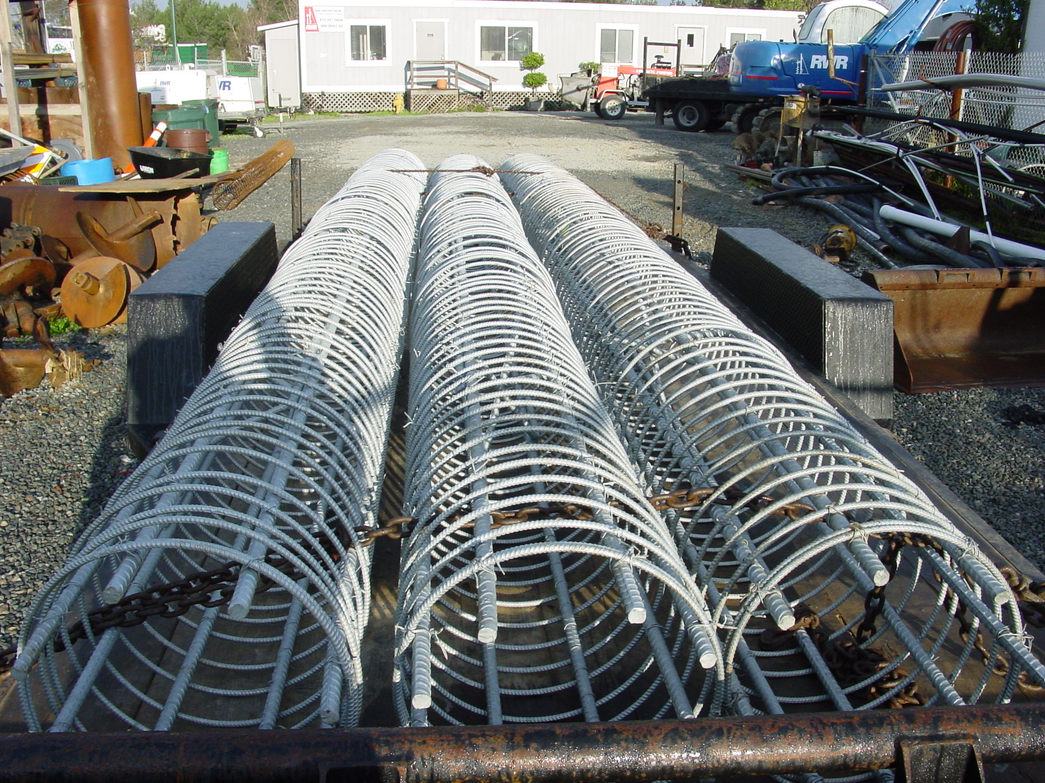 Galvanized reinforcing cages for underwater piers