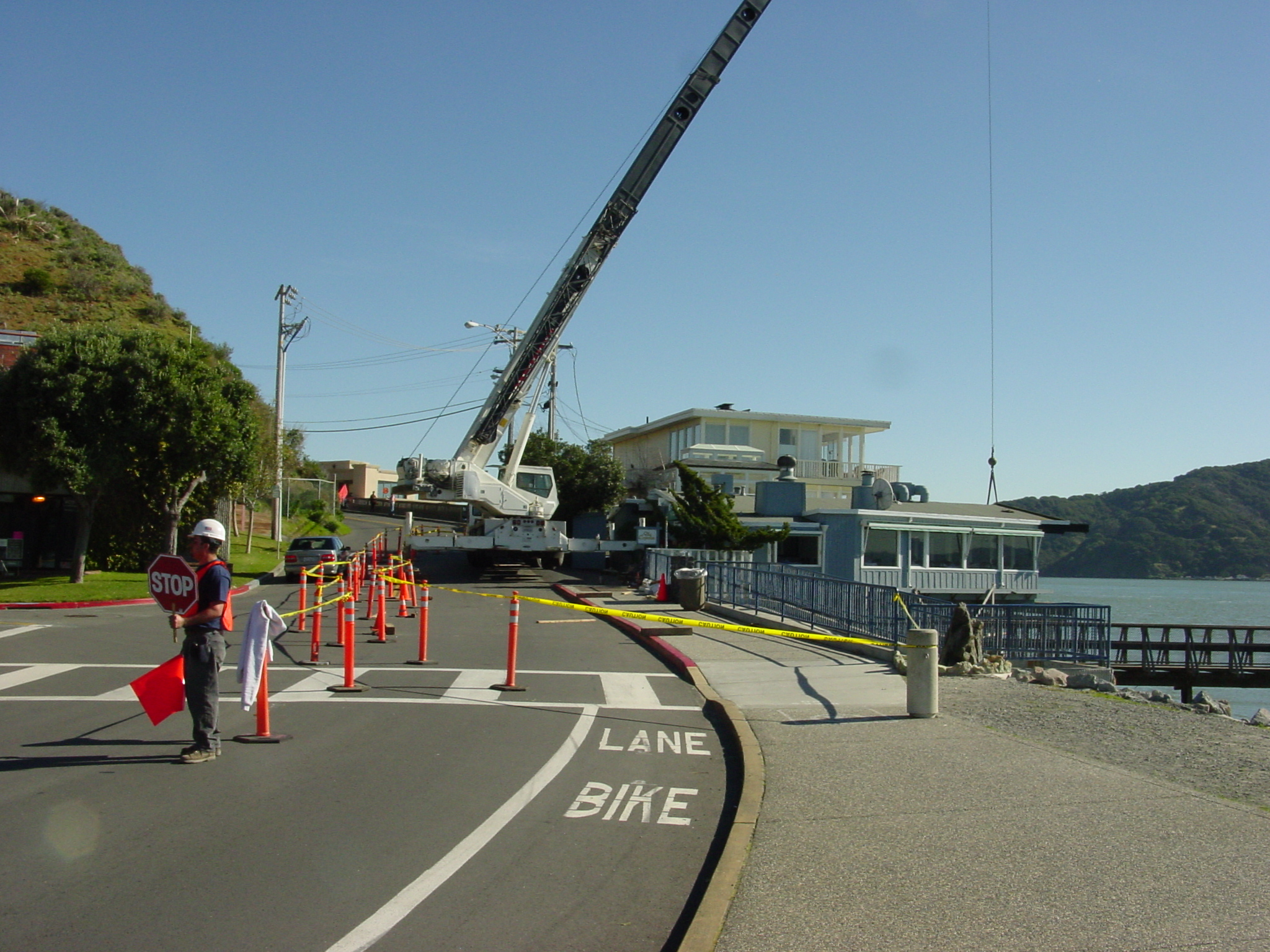 Closing the road for crane work