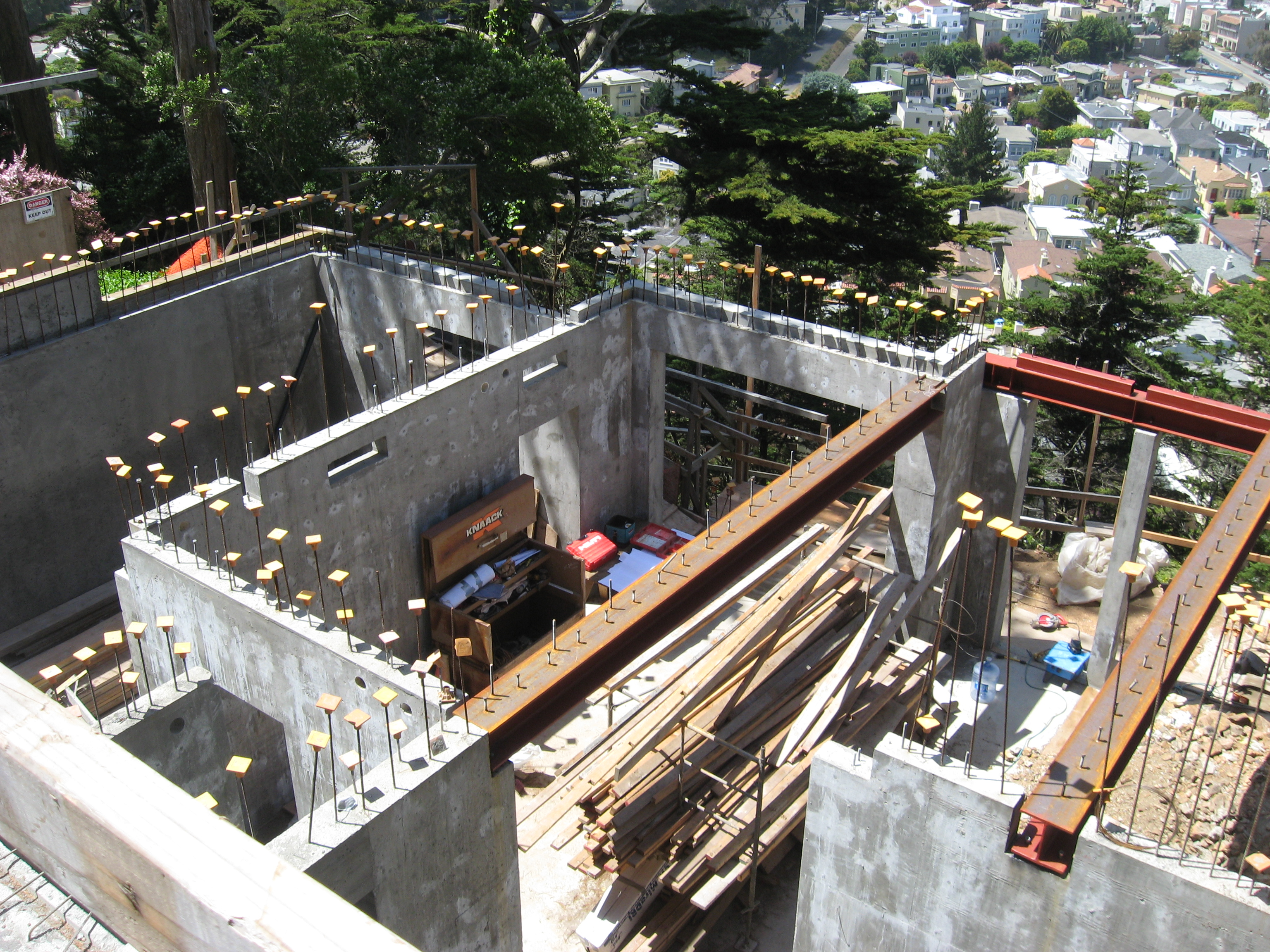 Drilling piers for retaining wall