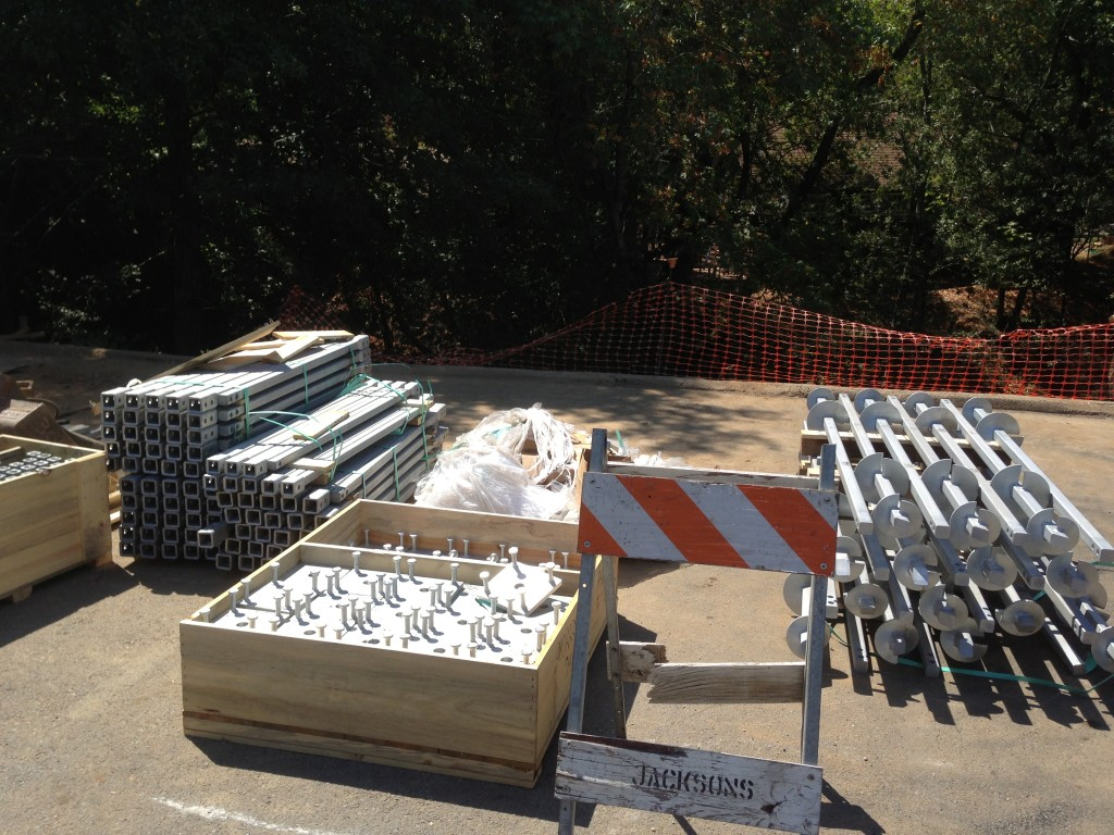 Galvanized helical material waiting to be installed on jobsite