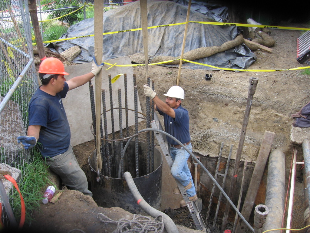 Pouring 36 inch diameter reinforced pier