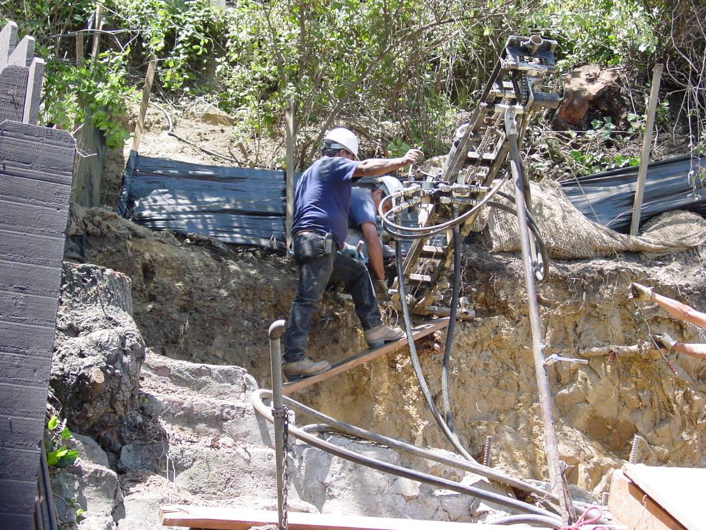 Tieback drilling, difficult access on hillside