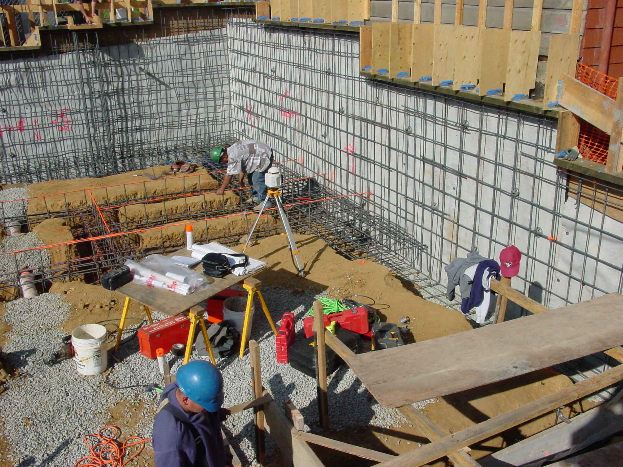 Foundation reinforcement and waterproofing installed, and ready for shotcrete