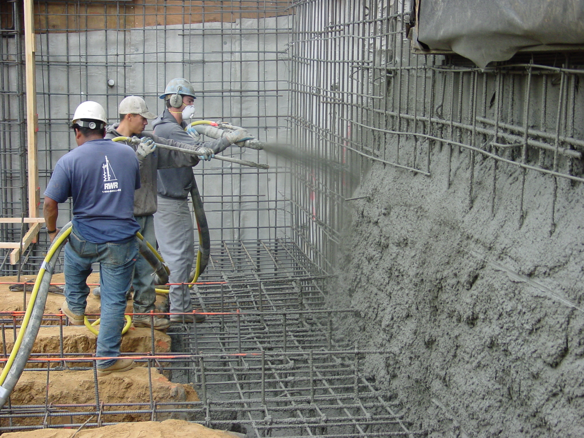 Shotcrete being installed